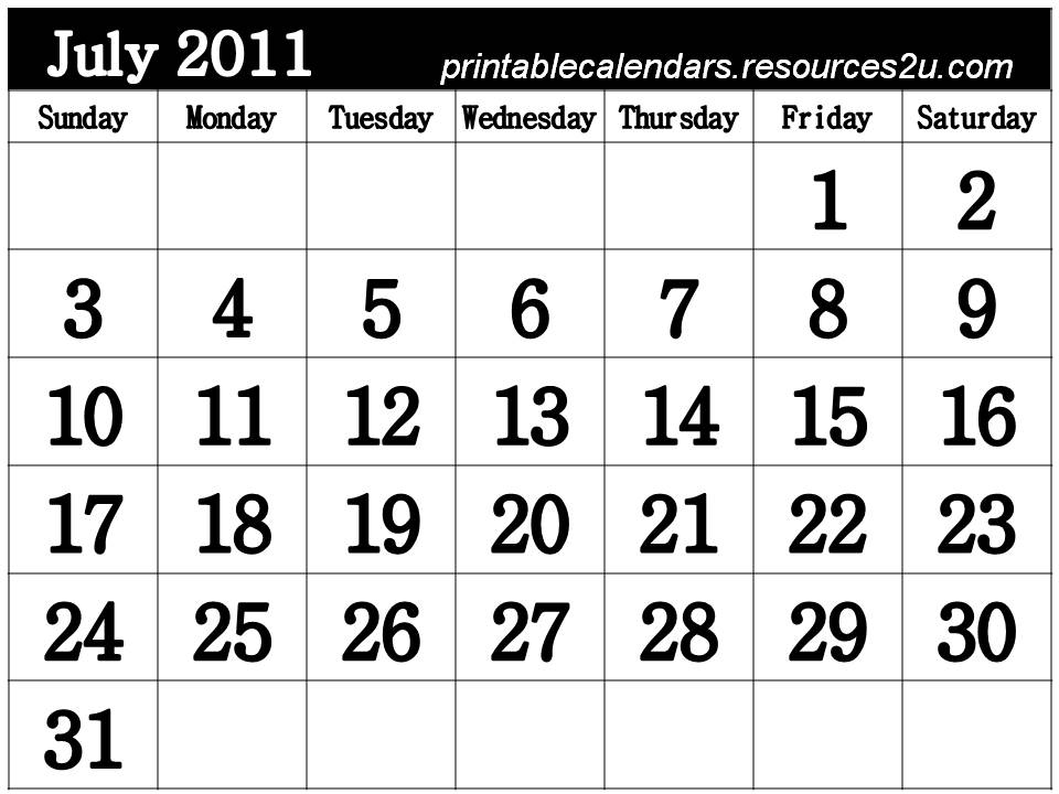 printable calendars july. Free July 2011 Calendar to