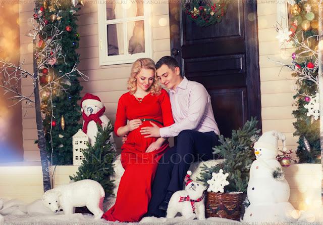 фотосессия в студии зимой с мужем