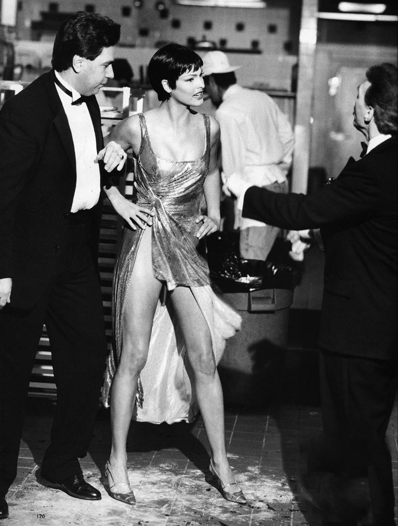 Linda Evangelista wearing Versace chain mail dress in Harper's Bazaar US 1995 photographed by Peter Lindbergh