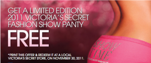 Free Fashion Show Panty at Victoria's Secret (Today 11/30)
