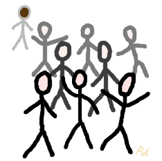 Token brown stickperson behind a crowd of white stickpeople