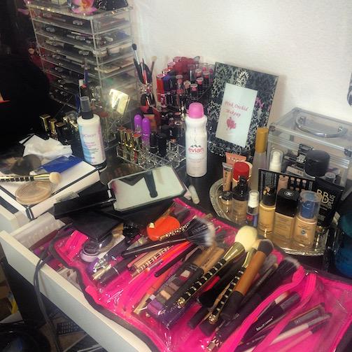 Makeup-Room-Mess-Pink-Orchid-Makeup