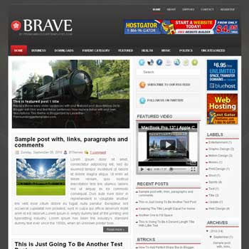 Brave blog template. template image slider blog. magazine blogger template style. wordpress theme to blogger. template blog 3 column