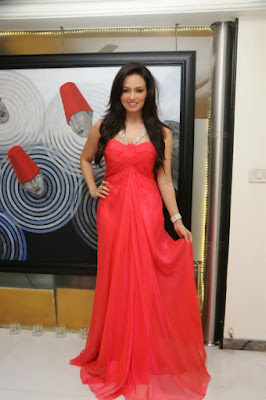 Sana khan Photos latest photoshoot in red dress