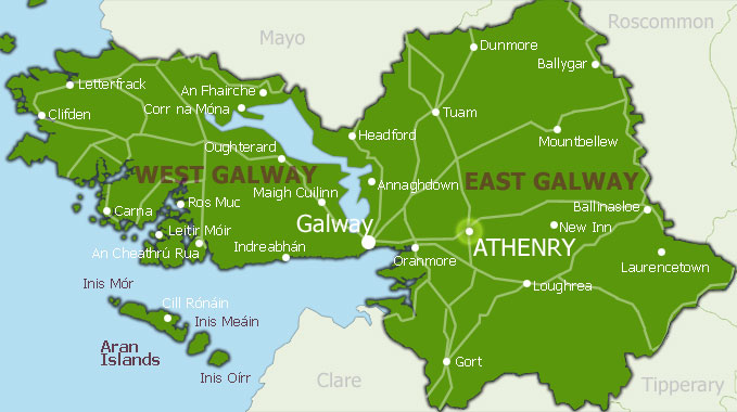 Galway County Map Area   Map of Ireland City Regional Political
