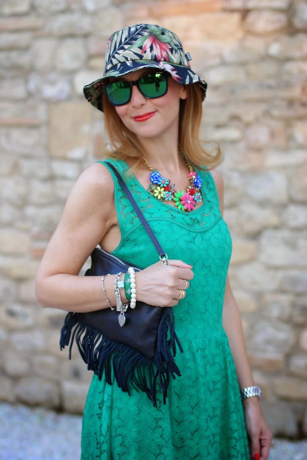 Morgan de toi lace dress, bob hat, fringed clutch, oakley green sunglasses, Fashion and Cookies, fashion blogger