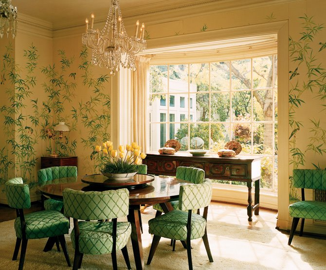 Cottage blue designs green rooms for Dining room ideas green