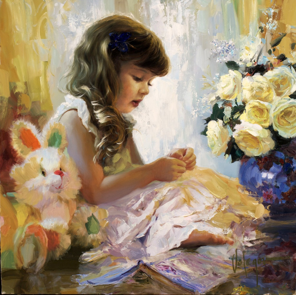 Adorable oil paintings by russian artist vladimir volegov for Oil painting for kids