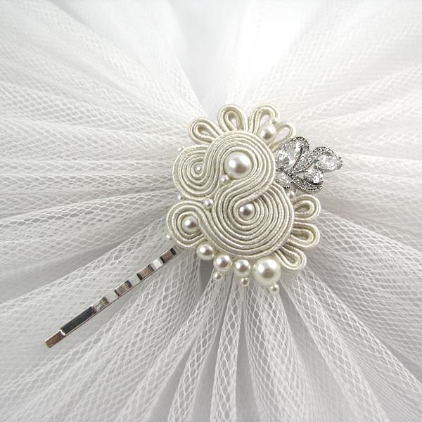 Ozdobna, ślubna wsuwka do włosów sutasz z perłami