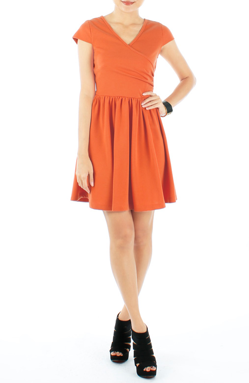 Tangerine Wrap V Neck PETITE Flare Dress