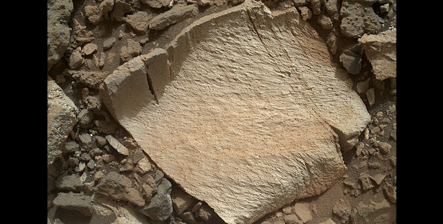 "A rock fragment dubbed ""Lamoose"" is shown in this picture taken by the Mars Hand Lens Imager (MAHLI) on NASA's Curiosity rover. Like other nearby rocks in a portion of the ""Marias Pass"" area of Mt. Sharp, Mars, it has unusually high concentrations of silica. The high silica was first detected in the area by the Chemistry & Camera (ChemCam) laser spectrometer. This rock was targeted for follow-up study by the MAHLI and the arm-mounted Alpha Particle X-ray Spectrometer (APXS). Credits: NASA/JPL-Caltech/MSSS"