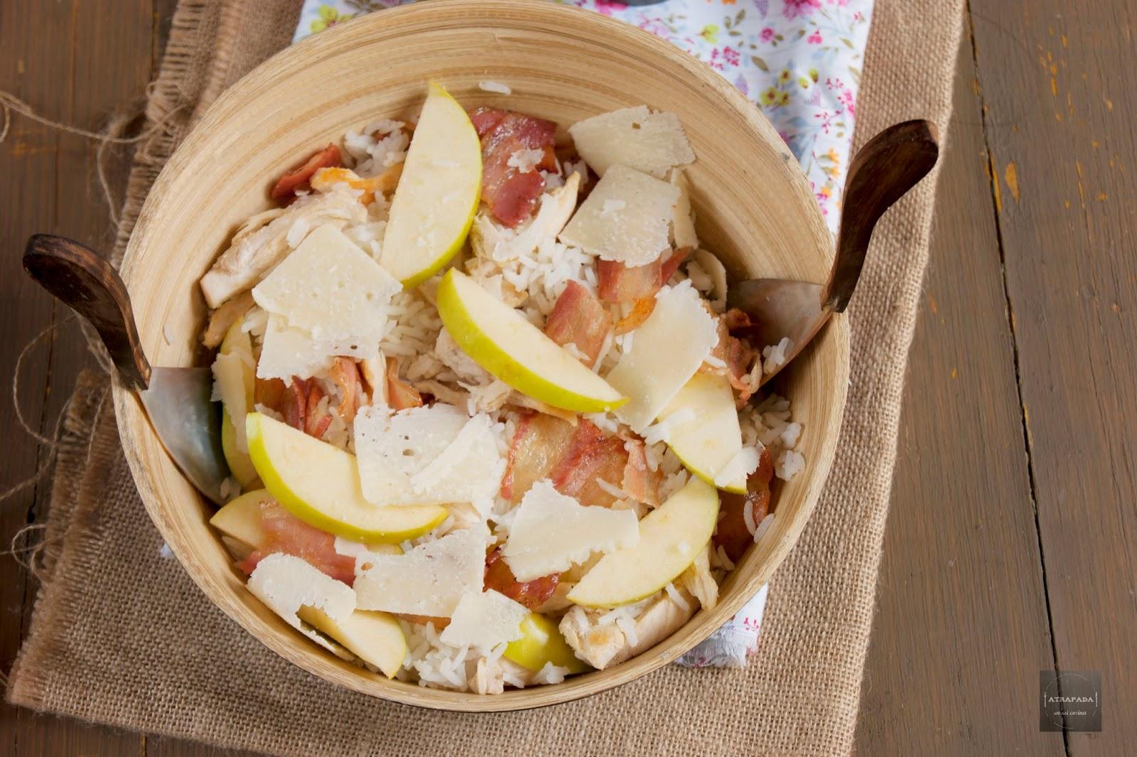Ensalada de arroz pollo manzana bacon y queso con - Ensalada de arroz light ...