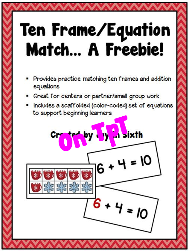 http://www.teacherspayteachers.com/Product/Winter-Ten-FrameEquation-Match-A-Freebie-1626082