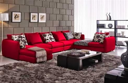 Dekorasi Ruang Tamu Sofa Merah