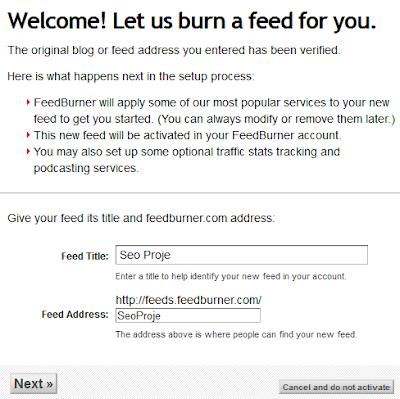 FeedBurner Blog Ekleme ve Besleme Adresi Oluşturma 3