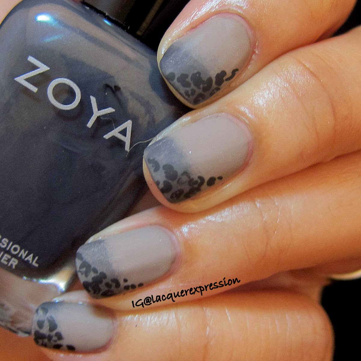 Sideway leopard print nail art manicure over gradient using Genevieve by Zoya