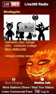 Bindlegrim internet radio station of vintage Halloween music broadcasting on Live365