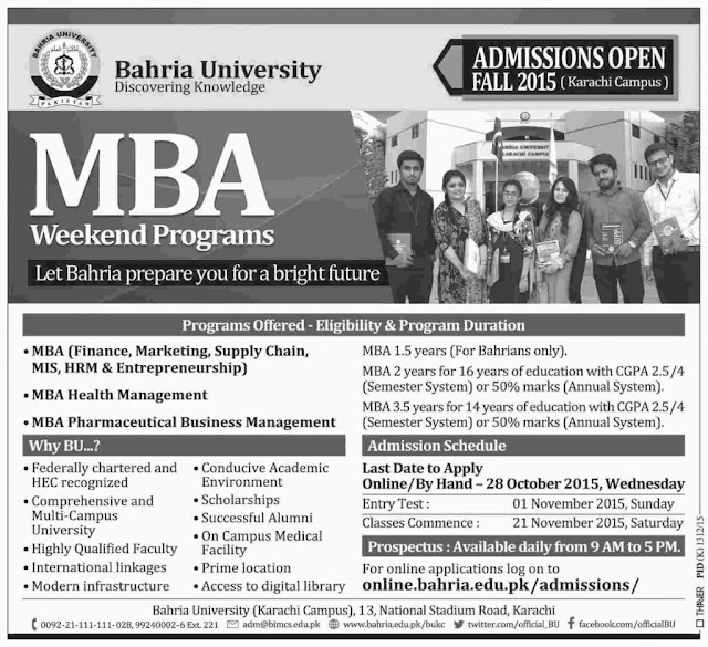 Bahria University Karachi Campus Admissions Fall 2015