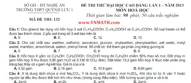 de thi thu mon toan chuyen dai hoc Vinh nam 2013