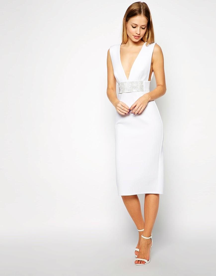 white deep neck dress