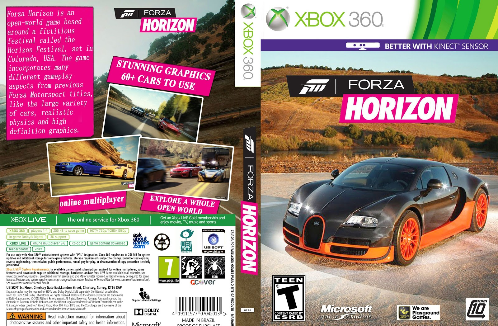 capa forza horizon xbox 360 gamecover capas customizadas para dvd e bluray. Black Bedroom Furniture Sets. Home Design Ideas