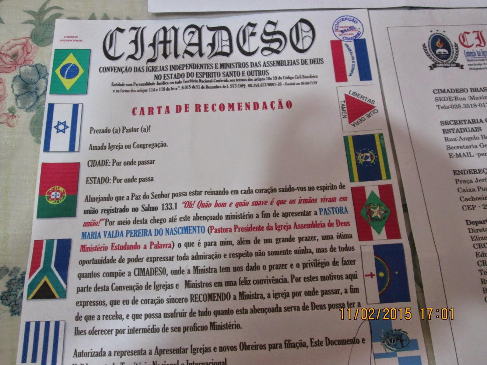 CARTA DE RECOMENDAÇÃO
