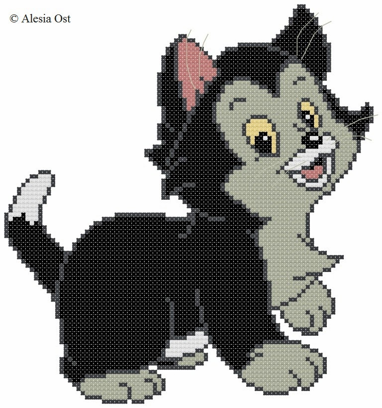 Free cross-stitch patterns, Cat Figaro, cat, animal, Pinocchio, Disney, cartoon, cross-stitch, back stitch, cross-stitch scheme, free pattern, x-stitchmagic.blogspot.it, вышивка крестиком, бесплатная схема, punto croce, schemi punto croce gratis, DMC, blocks, symbols