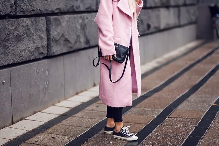 Pink boyfriend coat chuck taylors