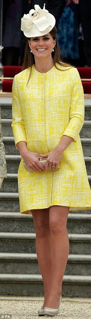 Catherine Middleton wears a Emilia Wickstead canary yellow coat with Jane Corbett hat, May 2013