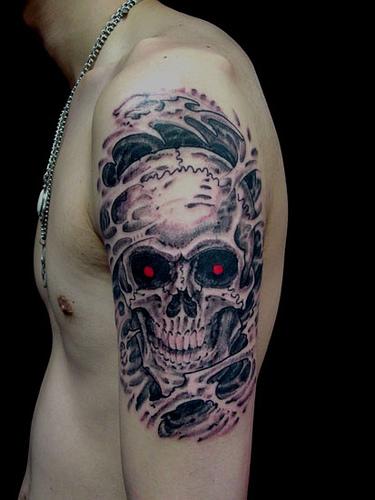 amazing scary skull tattoos ideas design art. Black Bedroom Furniture Sets. Home Design Ideas