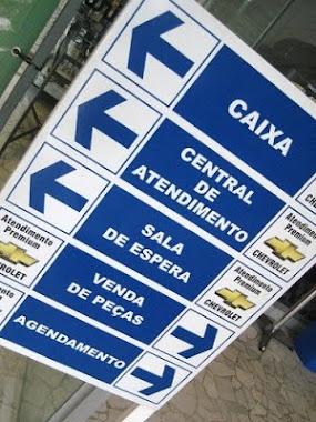 PLACAS DE SINALIZAÇÃO, INDICATIVAS SETORES EM PVC ADESIVADA CHEVROLET SÃO PAULO-SP