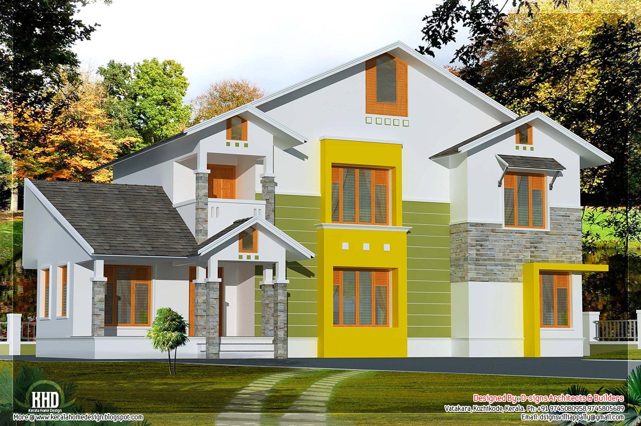 4 bhk sloping roof house design kerala home design and for Sloped roof house plans in india