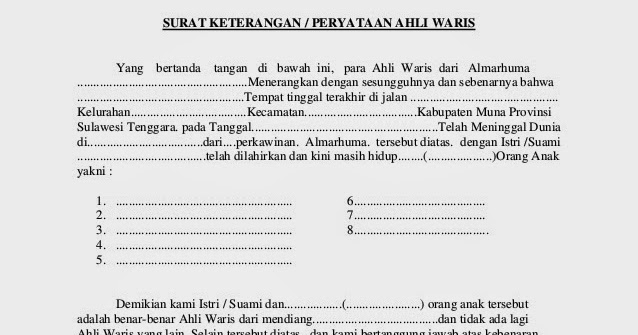 Contoh Surat Pernyataan Ahli Waris 2019 Kumpulan Contoh