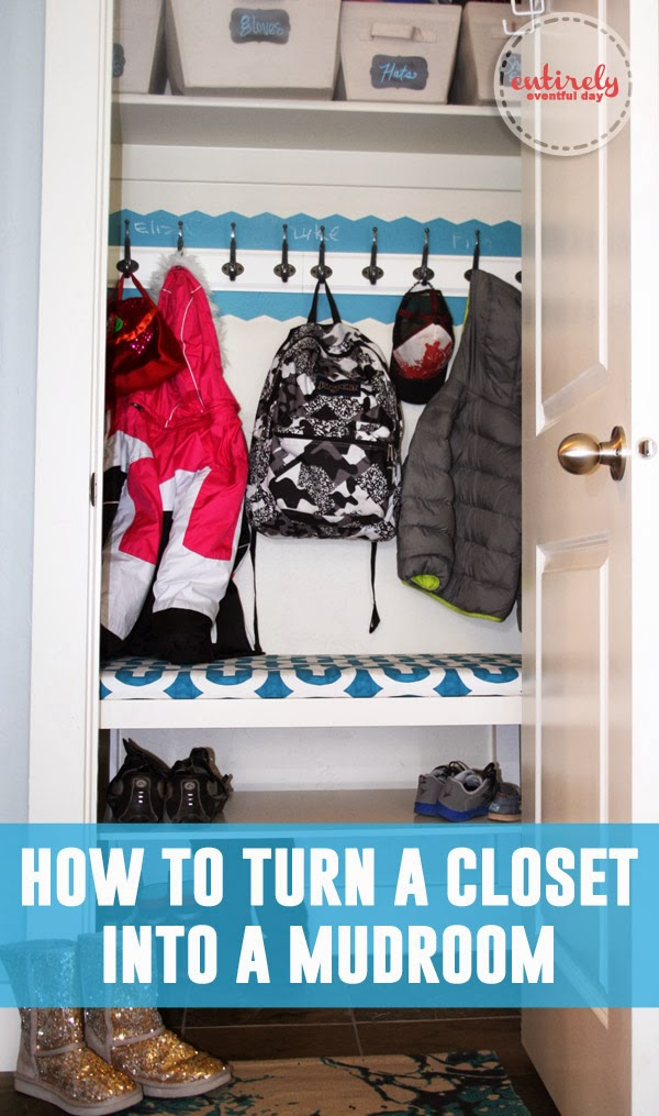 How to turn a closet in to a mudroom. So genius!  The bench is actually an IKEA coffee table! #diy #mudroom #ikeahack www.entirelyeventfulday.com
