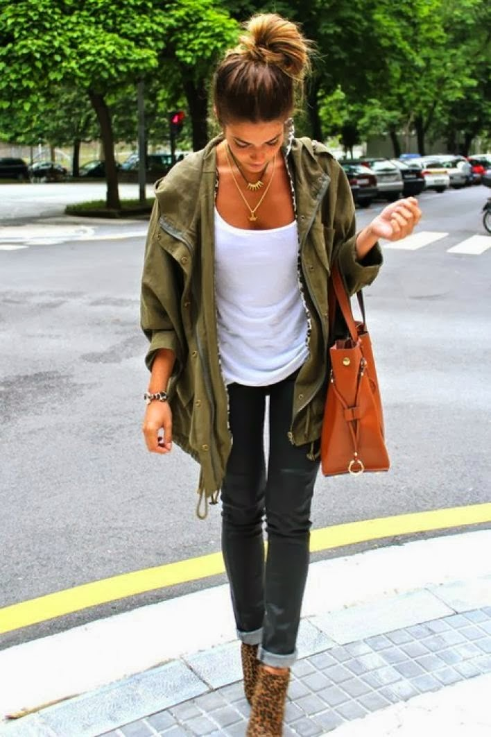 Khaki Jacket With White Singlet And Black Denim Jeans