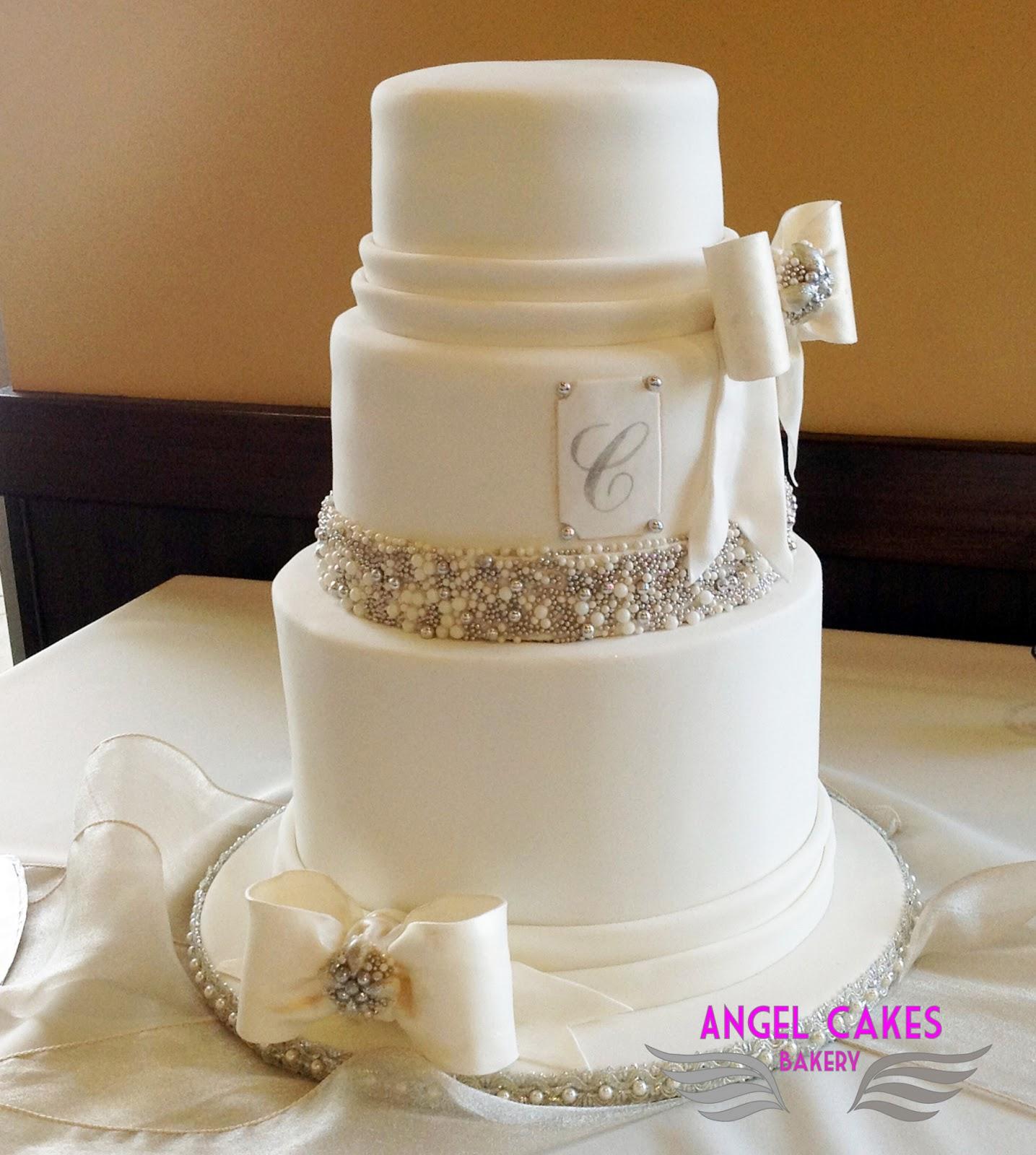 Angel Cakes Bakery Bling Bows Wedding Cake