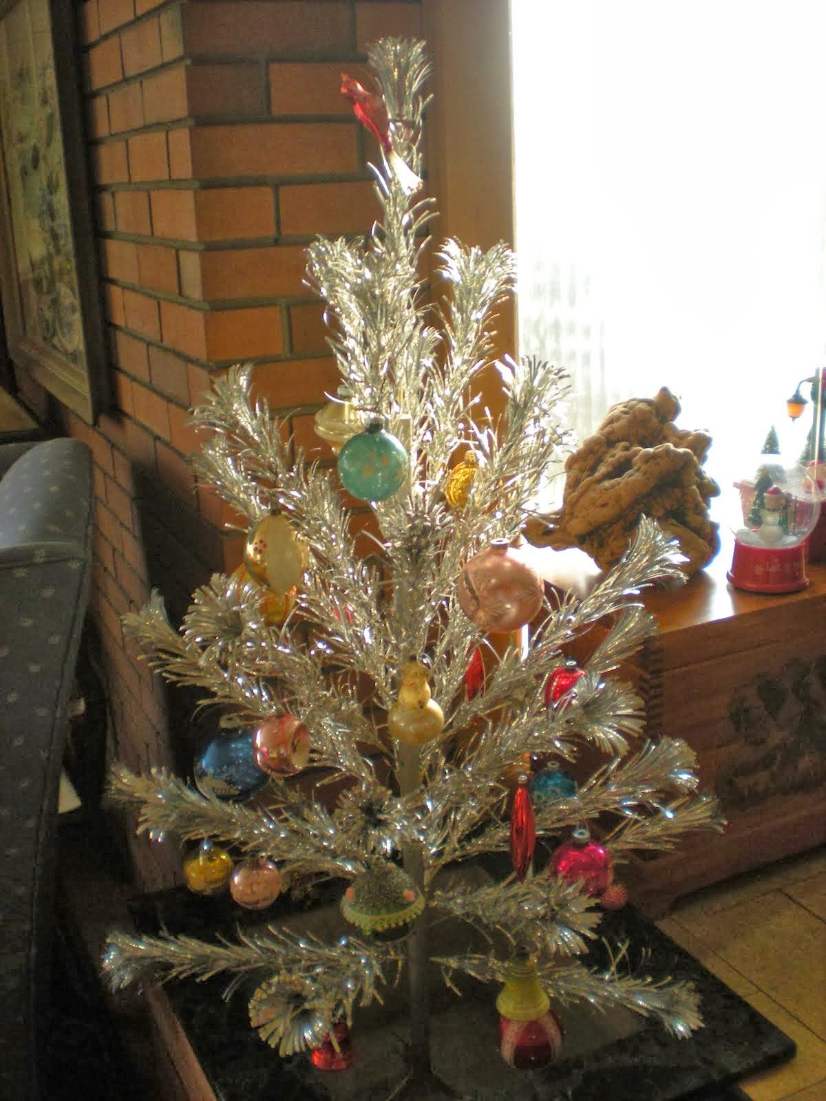 Tinsel Tree with Glass Ornaments