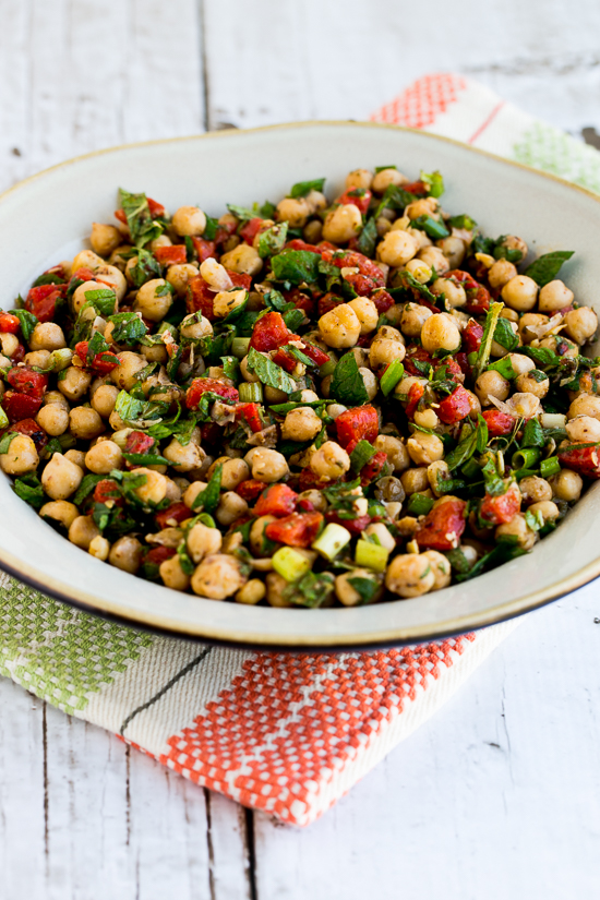 Sauteed Chickpea Salad with Roasted Red Peppers, Mint, and Sumac found on KalynsKitchen.com.