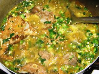 Okro Soup Boiling