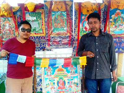 Buddhist Religious Spiritual Prayer Flags in the Representative Colours of the 5 Elements