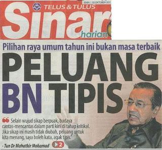 Mahathir kata 2011 peluang BN menang pru-13 tipis, 2012 peluang BN semakin menipis, 2013 peluang BN sudah habis!