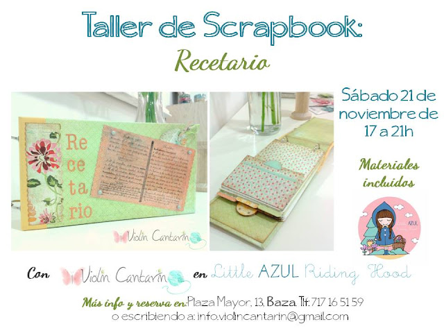 taller scrap, scrapbook, recetario, scrap baza, violín Cantarín, violin cantarin