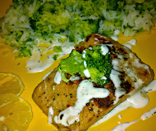 ... Blueberry: Pan-fried Salmon with Garlic-Dill Sauce and Rice & Broccoli