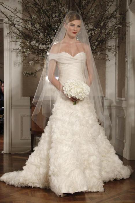 ruffled wedding gown