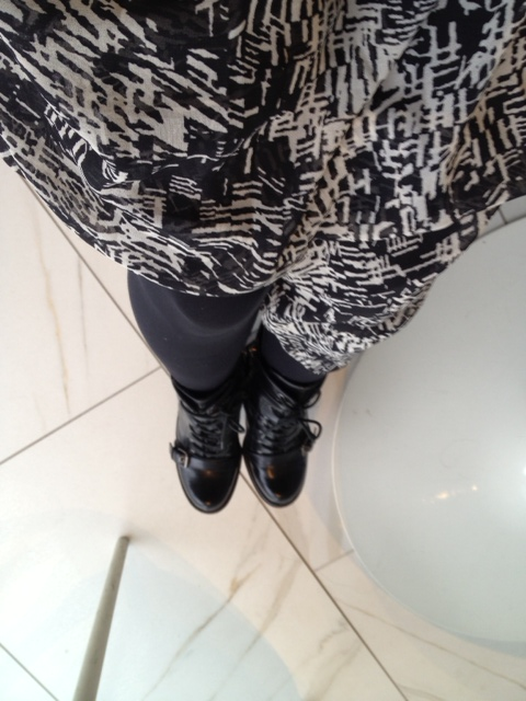 forever21 skirt over leggings, laced buckled boots