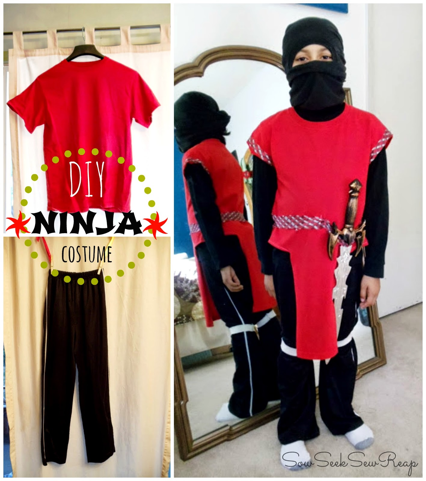 boys diy costume, thrifted ninja, boys ninja