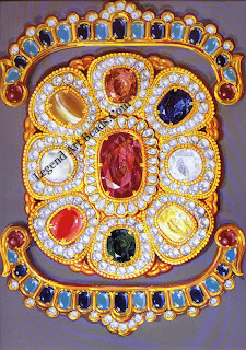 A mid-20th century interpretation of a navaratna, using faceted stones and brilliants in gold. Design conceived and drawn by Ambaji Shinde, c. 1970.