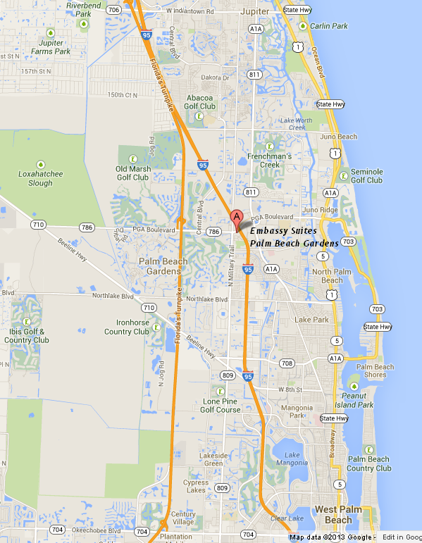 map showing location of Embassy Suites Palm Beach Gardens - PGA Boulevard