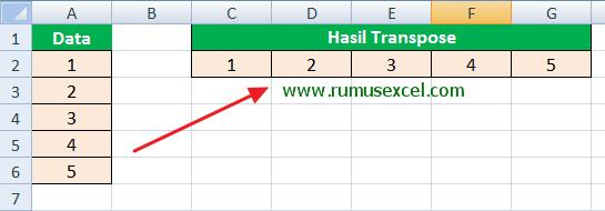 Fungsi Transpose di Excel