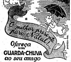 Propaganda do guarda-chuva Ferrini em 1948: sugestão de presente.